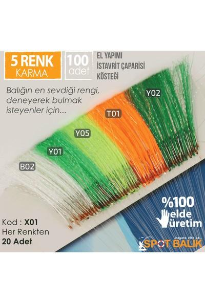 Abari X01 İstavrit Çinekop Çapari Kösteği 5 Renk Karma 100Ad 13 No Beyaz İğne