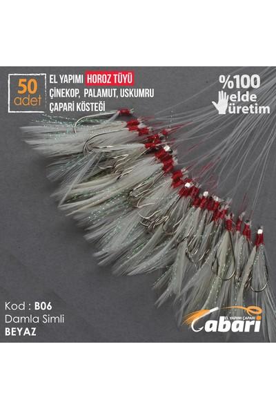 Abari B06 Horoz Tüyü Çinekop Çapari Kösteği Beyaz 50Ad 4 No Beyaz İğne