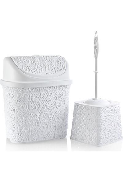 Alper Banyo Dantel Klik Çöp Kovası - Klozet Fırçası Seti - Beyaz