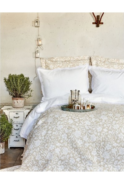 Karaca Home Verona Bej Nakışlı Nevresim Yatak Örtüsü Seti