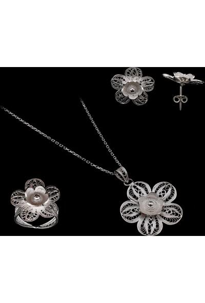 Akyüz Gümüş Çiçek İşlemeli Telkari Gümüş Set Stt022