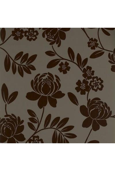 İthal Kahverengi Çiçek Desenli Duvar Kağıdı
