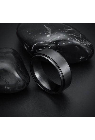 Chavin Ortası Mat Siyah Erkek Çelik Alyans Yüzük Dm13 25