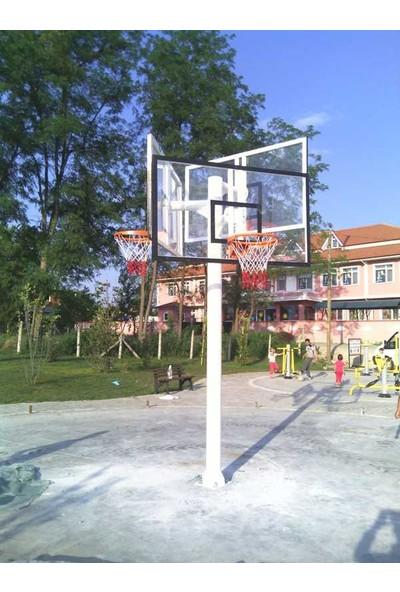 Basketbol Potası Üçlü Grup Standart Yükseklik 2 mm Sac ,105*180 , 45 Cm Sabit Çe. 4 mm Floş İp File