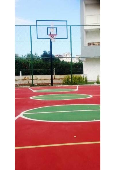Basketbol Potası Sabit Çember, 105*180 12 mm Cam Panya 114/4 Tek Direk Boru