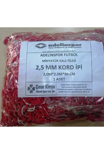 adelinspor Minyatür Kale Filesi 200/200/80Cm 10*10 Göz 2,5 Mm Renkli