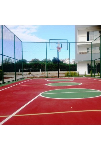 Basketbol Potası Sabit Çember, 105*180 10 mm Cam Panya 114/4 Tek Direk Boru