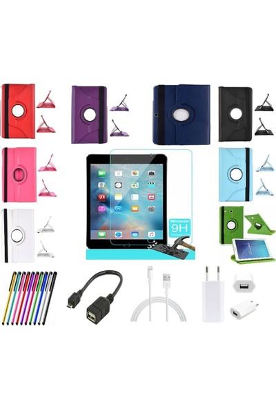 Mustek apple iPad Air 2 360 Dönerli Tablet Kılıf+9H Kırılmaz Cam+Kalem+Otg Kablo+Şarj Kablosu+Adaptör
