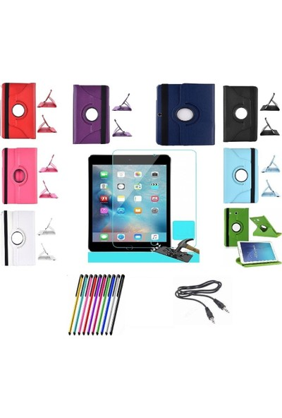 Mustek apple iPad Air 2 360 Dönerli Tablet Kılıf+9H Kırılmaz Cam+Kalem+Aux Kablo