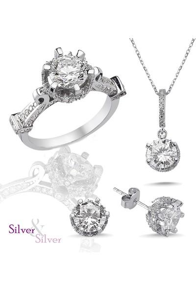 Silver & Silver Özel Dizayn Zirkon 5Ct İbrik Set