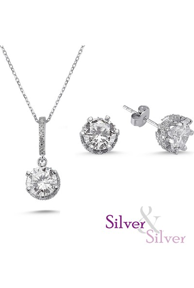 Silver & Silver Zirkon Özel Tek Taş Kolye Küpe