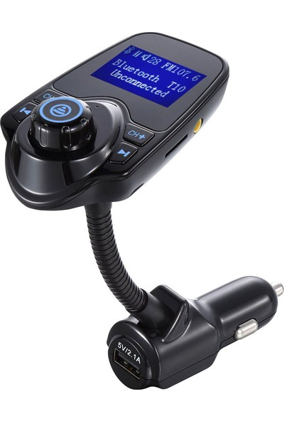 Case 4U T10 USB Araç Şarjı, SD Kart, USB, Aux ve Araç Kiti Özellikli Bluetooth FM Verici / FM Transmitter