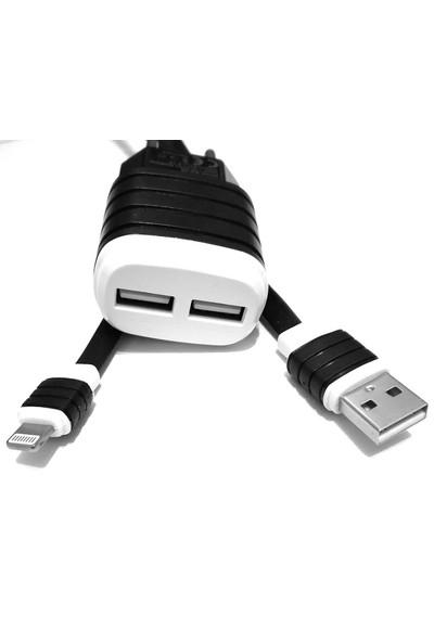 mytell Apple iPhone 5/5S/5Se Siyah-Beyaz Şarj Cihazı