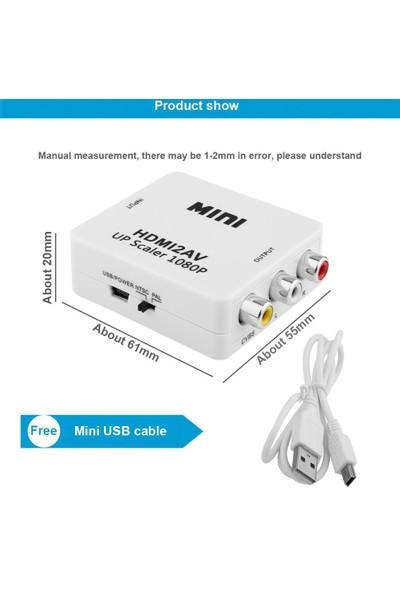 Alfais 4552 HDMI To RCA AV 1080P Destekli Çevirici Dönüştürücü Adaptör