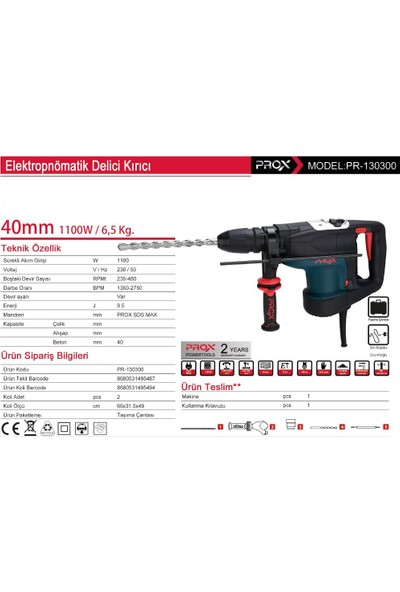 Prox 1100 Watt 40 Mm 9,5 Joul Kırıcı-Delici