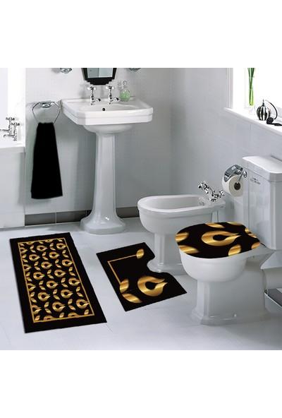 Melay Altın Lale Banyo Paspas Klozet Set