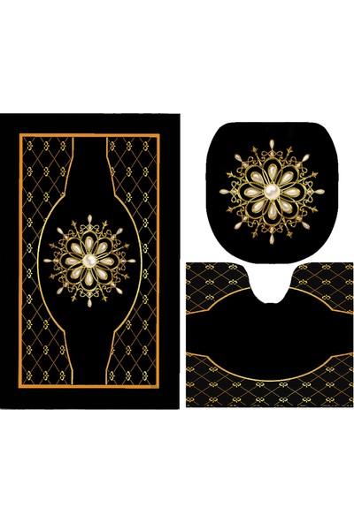 Melay İncili Çiçek Banyo Paspas Klozet Set