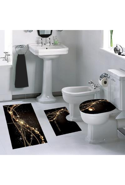 Melay Sarı İnciler Diyarı Banyo Paspas Klozet Set
