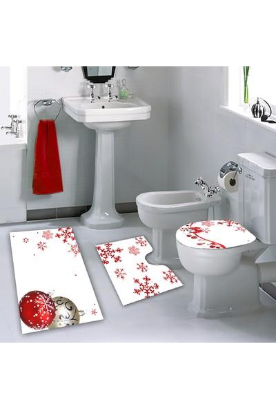 Melay Kırmızı Kar Taneleri Banyo Paspas Klozet Set
