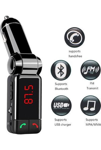 AutoCsi Bluetooth Araç Kiti MP3 Audio FM Transmitter AUX