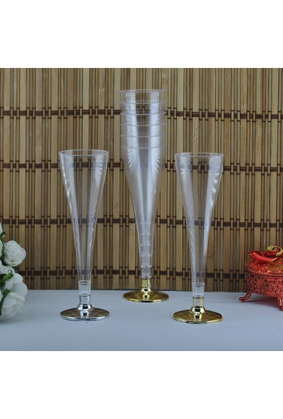 Tahtakale Toptancısı Şampanya Kadehi Plastik Altın / Gümüş (8 Adet)