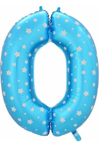 Tahtakale Toptancısı Folyo Balon Rakam 90 Cm Mavi Yıldızlı