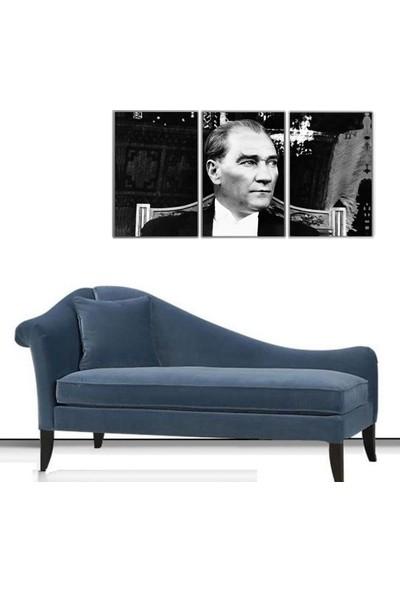 3 Parça Mustafa Kemal Atatürk Kanvas Tablo 80x168 cm