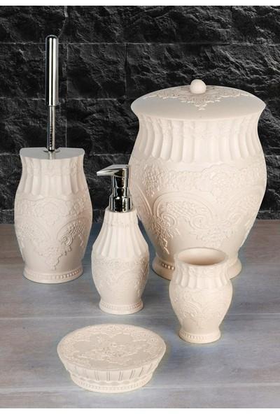 Polyester 5 Parça Lüks Çöp Kovalı Banyo Seti
