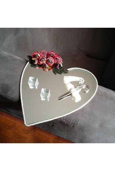 Alisveristime Söz, Nişan Tepsisi (Çiçekli Aynalı Kalpli Model) 30 cm