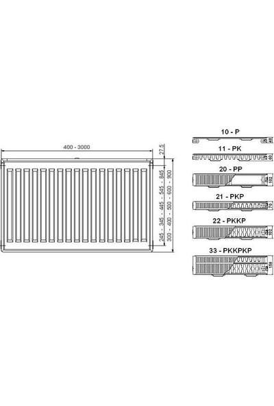 Demirdöküm Pkkp 33 Hatve 600-1500 Kompakt Ventilli Ventilli Panel Radyatör