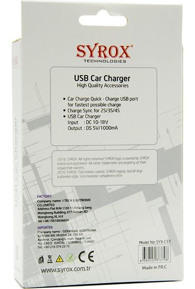 Syrox Micro Usb Kablolu & Usb Çıkışlı 1.0 A Araç Şarj Cihazı