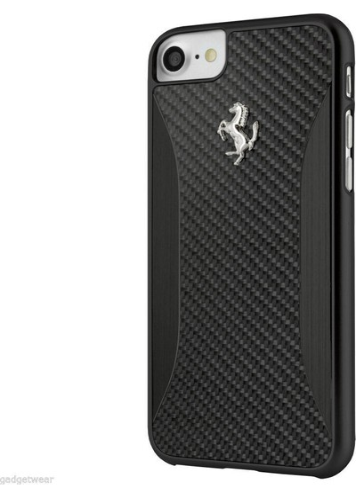 Ferrari GT Apple iPhone 7 Kılıf Experience Carbon Fiber Siyah