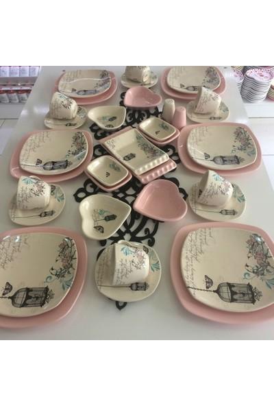 Keramika Retro 36 Parça 6 Kişilik Seramik Kahvaltı Takımı Açık Pembe
