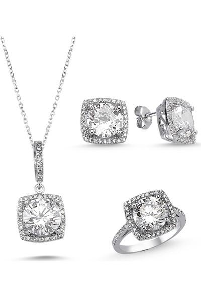 Silver & Silver Aşkım 5 Taş Zirkon Zarif Set