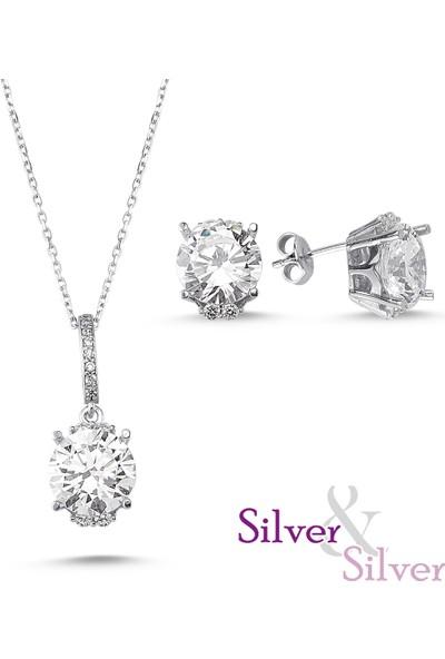 Silver & Silver Zirkon 5 ct Aşka Davet Kolye Kupe