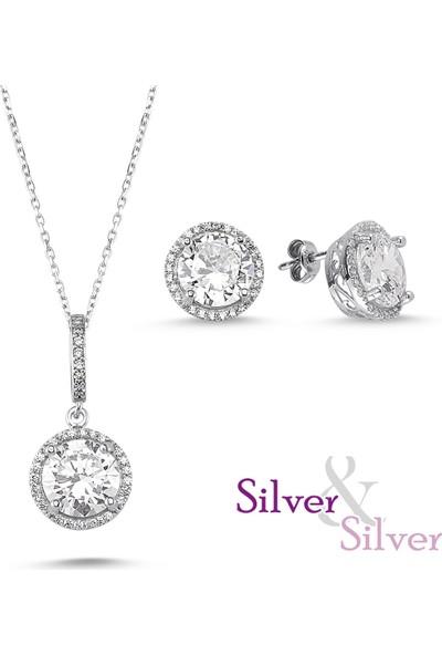 Silver & Silver Zirkon 5 ct Aşk Kolye Küpe