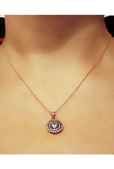 Tyelo Takı, Gümüş, Rose Rengi, Elmas Montürlü, Zirkon Taşlı Kolye