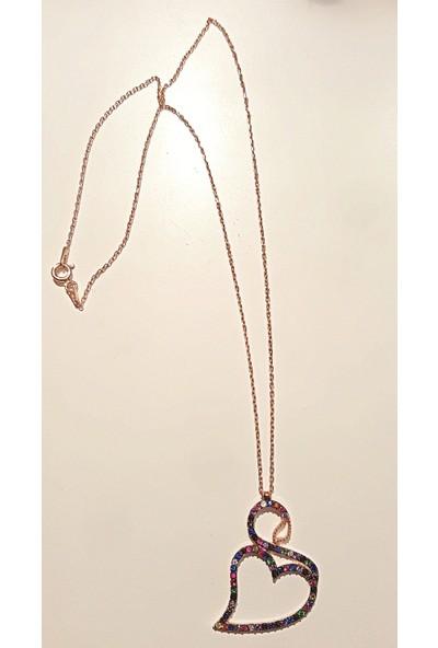 Tyelo Takı, Gümüş, Rose Rengi, Renkli Zirkon Taşlı, Kalpli Kuğu Kolye