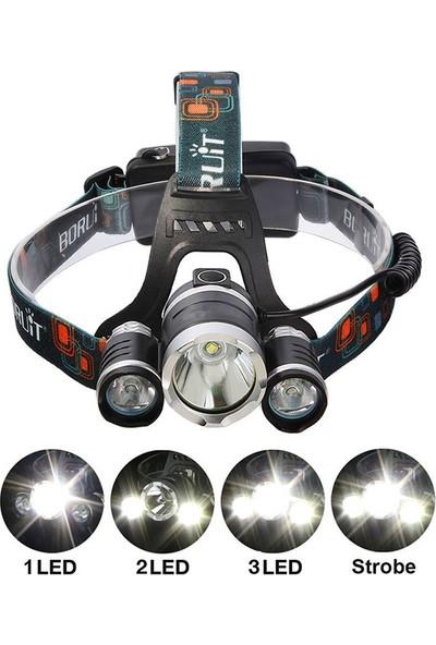 Boruit T6 Kafa Feneri 5000 Lumens 3Xcree Xm-T6+2R5 Lamba Led Kamp Lambası
