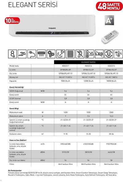 Hotpoint Ariston SPIW418LHP A+ 18000 BTU Duvar Tipi Inverter Klima