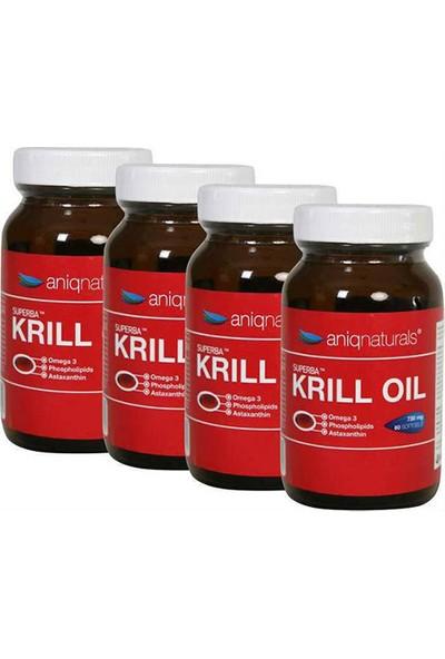 Aniqnaturals Superba Krill Oil Yağı Cam Şişe 730 Mg 60 Softgel 4 Adet