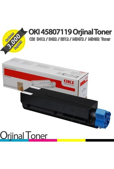 OKI 45807119 / B412 / B432 / B512 / MB472 / MB492 Orjinal Toner 3K