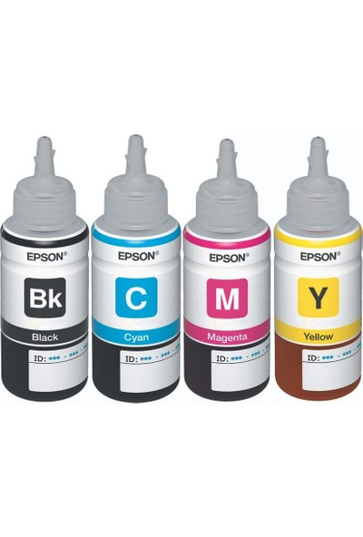 Epson EcoTank L655 Orijinal Siyah + Sarı + Mavi + Kırmızı 4 Renk set Ekonomik Yazıcı Mürekkep Kartuş