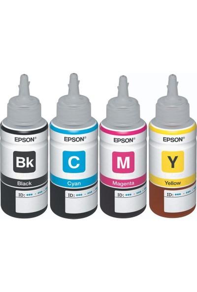 Epson EcoTank L555 Orijinal Siyah + Sarı + Mavi + Kırmızı 4 Renk set Ekonomik Yazıcı Mürekkep Kartuş