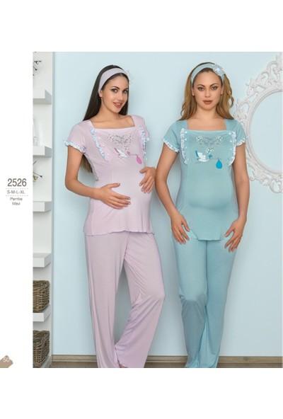 Haluk Bayram Baha Lohusa 2'li Pijama Takım 2526 - Mavi