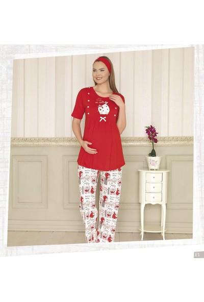 Haluk Bayram Baha Lohusa Emzirme Pijama Takım 2926 - Kırmızı