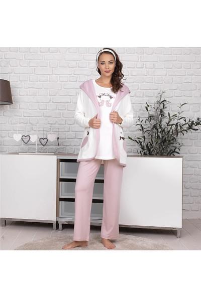Haluk Bayram Baha Lohusa 3'lü Pijama Takım 2619 - Gül Kurusu