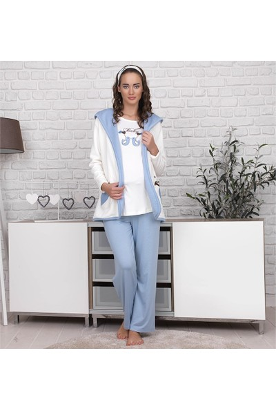 Haluk Bayram Baha Lohusa 3'lü Pijama Takım 2619 - Turkuaz