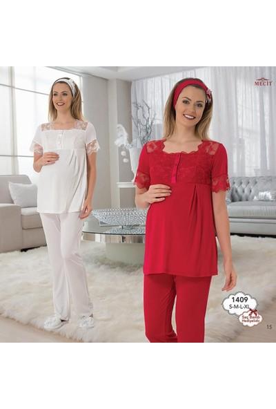Mecit Lohusa Kısa Kol Pijama Takım 1409 - Kırmızı