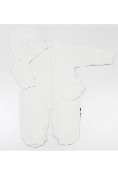 Elçi Baby Düz Krem Bebek Tulumu 0-3 Ay